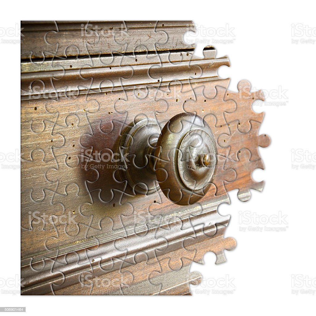 Old Italian furniture in shape of puzzle stock photo