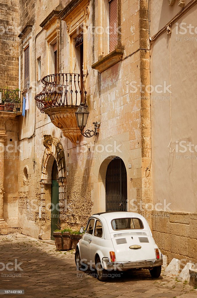 Old Italian Town and Car stock photo