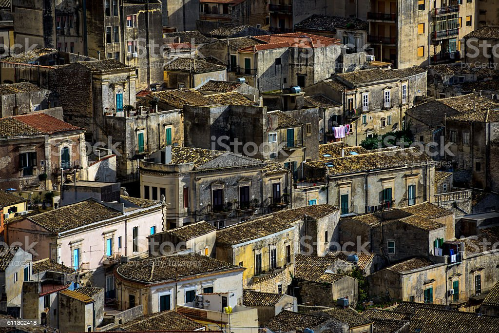 old Italian town of Scicli stock photo