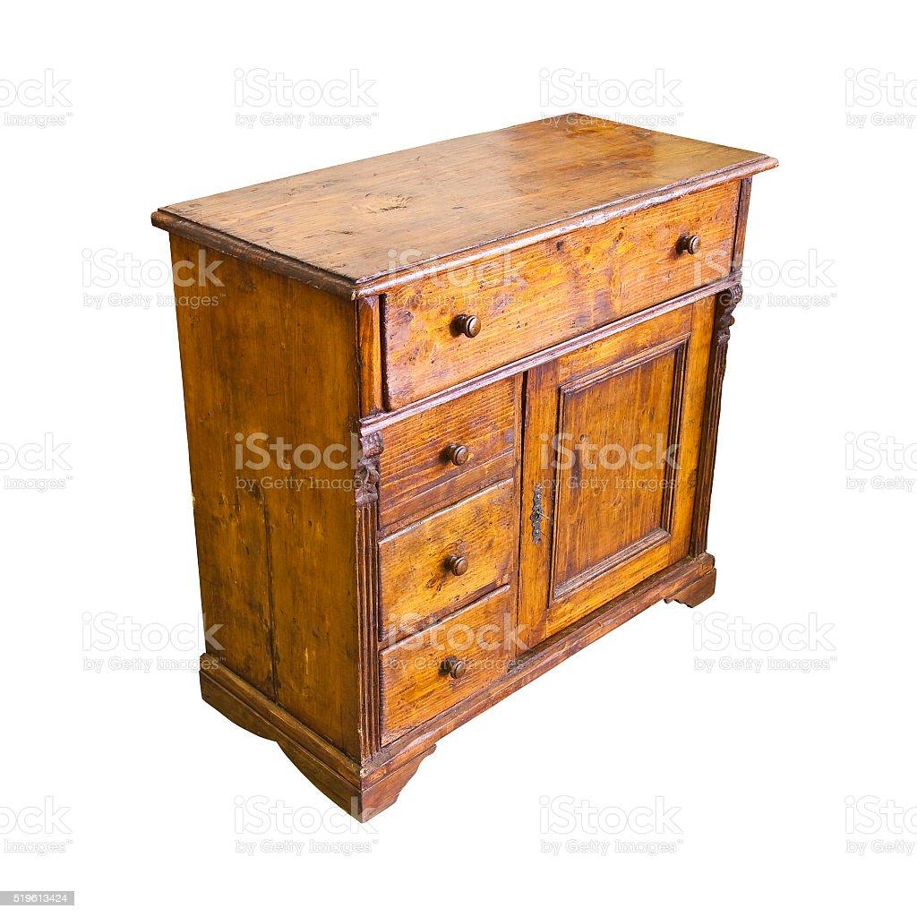 Old italian wooden dresser on white background stock photo