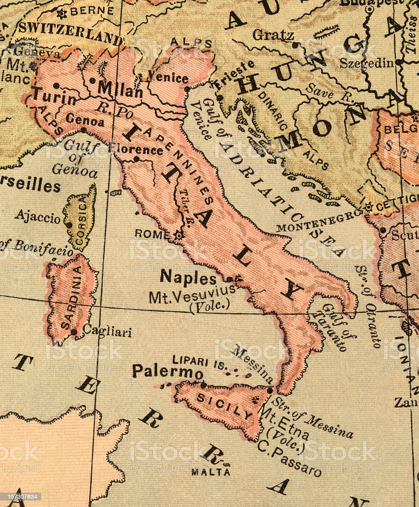 old italy map stock photo