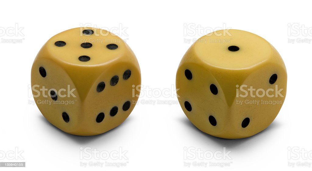 old ivory dice (clipping path) royalty-free stock photo