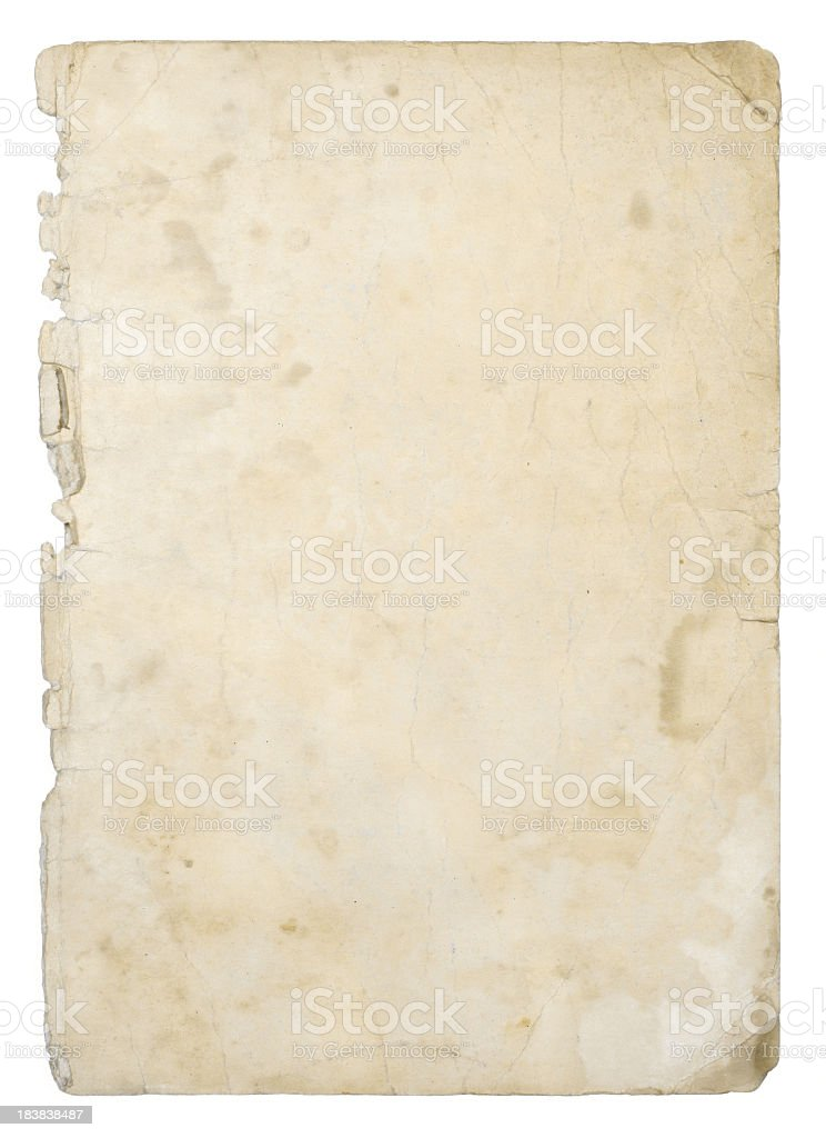 Old ivory grunge paper background with stains stock photo