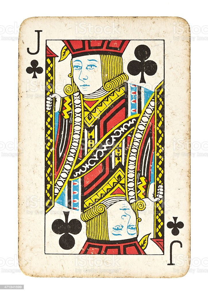 Old Jack of Clubs Isolated on White royalty-free stock photo