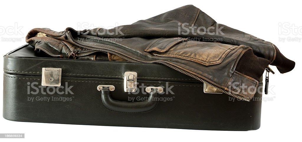 Vecchia giacca in valigia foto stock royalty-free