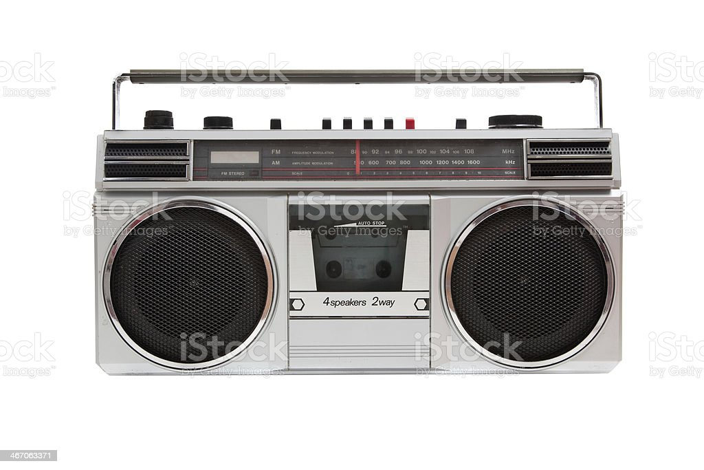 Old jambox on a white background stock photo