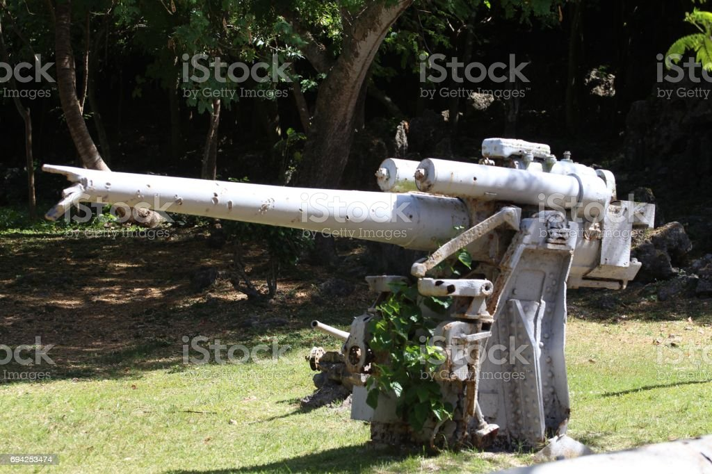 Old Japanese cannon at the Last Command Post, Saipan, repainted stock photo