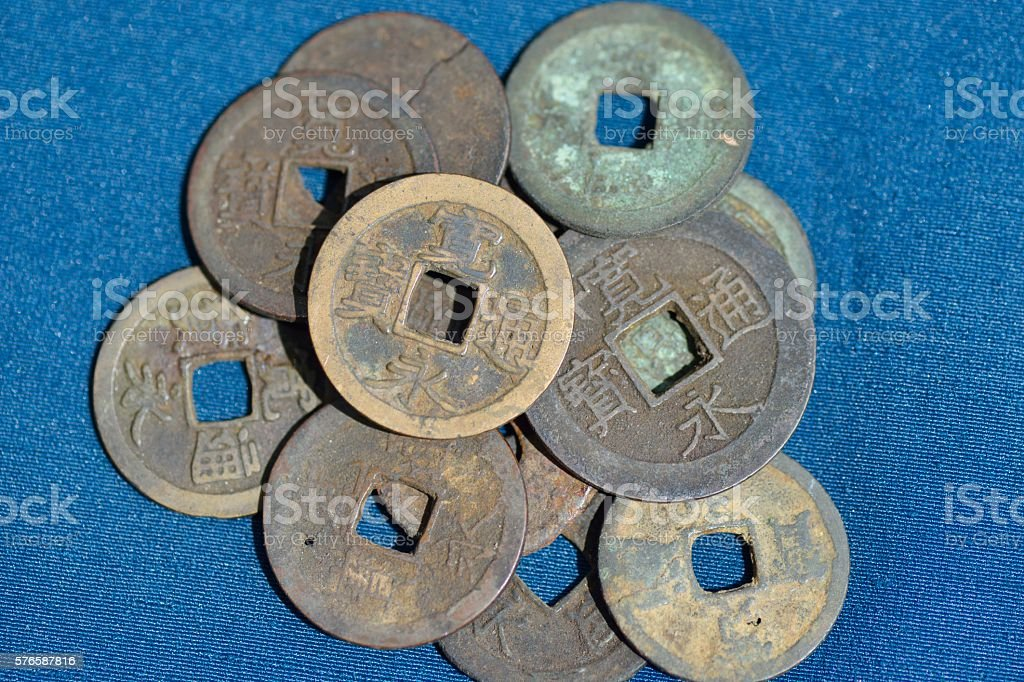 Old Japanese Coins stock photo