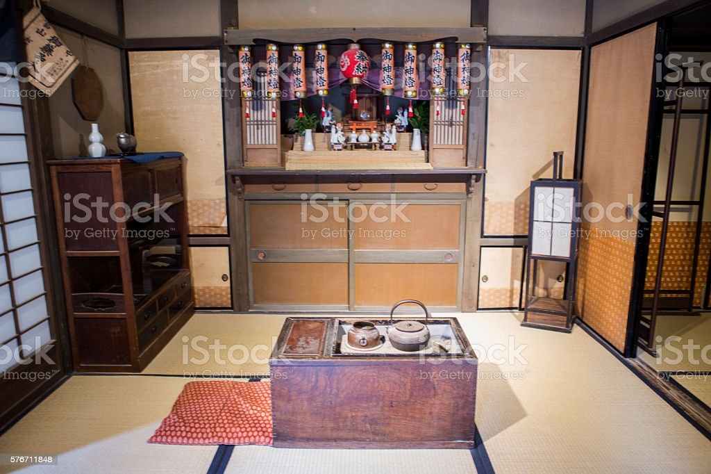 old japanese town building interior in toei studio kyoto japan stock photo
