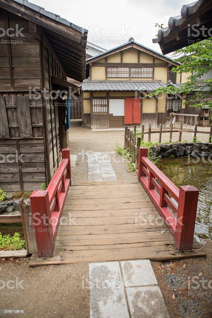old japanese town buildings in toei studio kyoto japan stock photo