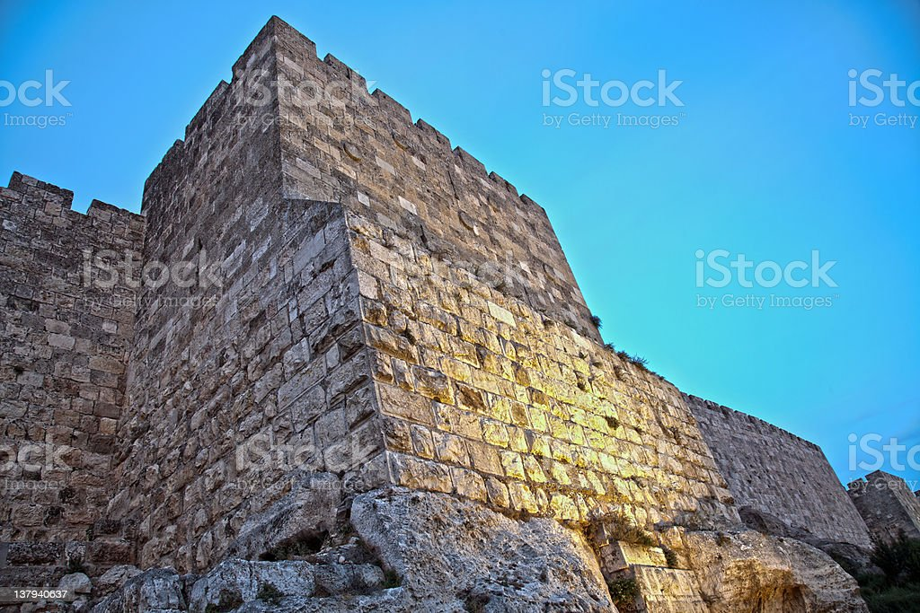 Old Jerusalem City Wall at Dusk stock photo