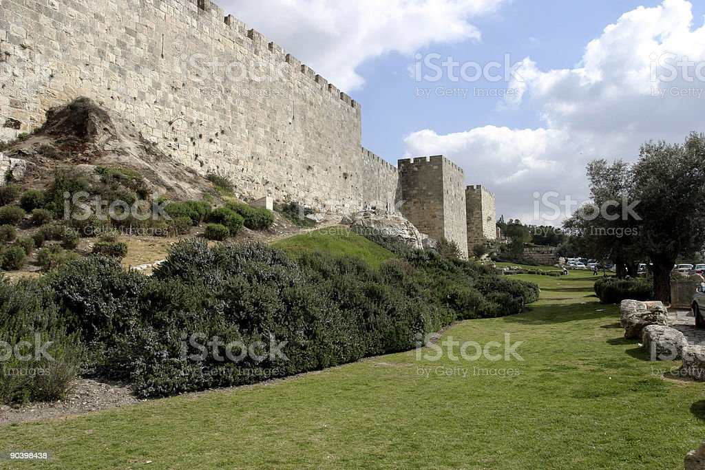 Old Jerusalem City Walls royalty-free stock photo