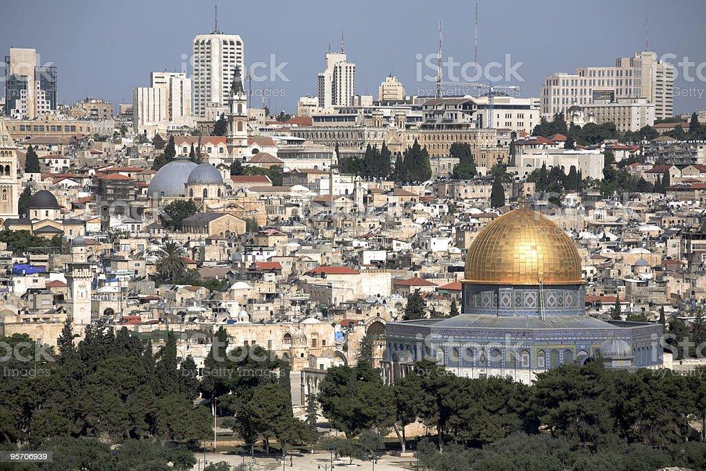 Old Jerusalem & Dome of the Rock royalty-free stock photo