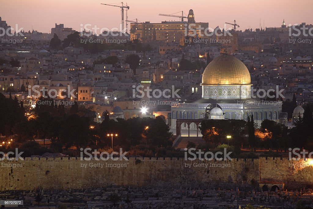 Old Jerusalem & Dome of the Rock royalty-free stock photo
