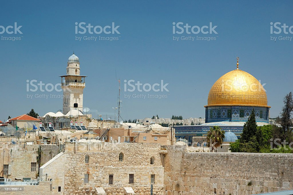 Old Jerusalem view - wailing wall and golden Omar mosque royalty-free stock photo