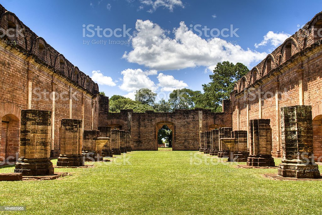 Old Jesuit ruins in Encarnacion stock photo