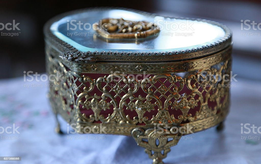 Old jewel box on the table stock photo