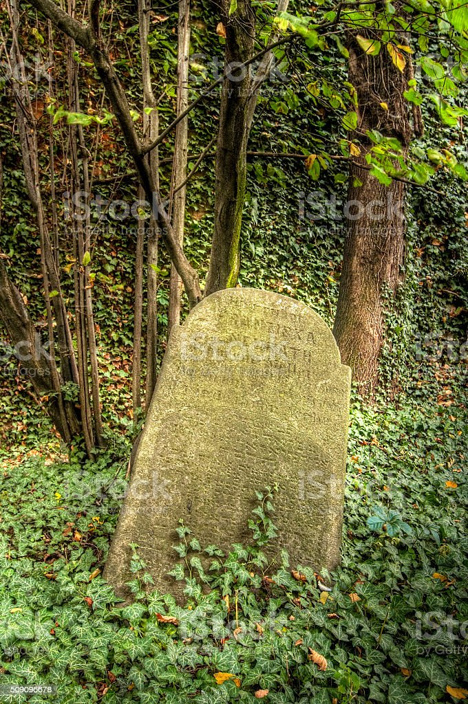 Old Jewish Cemetery from from 15th Century stock photo