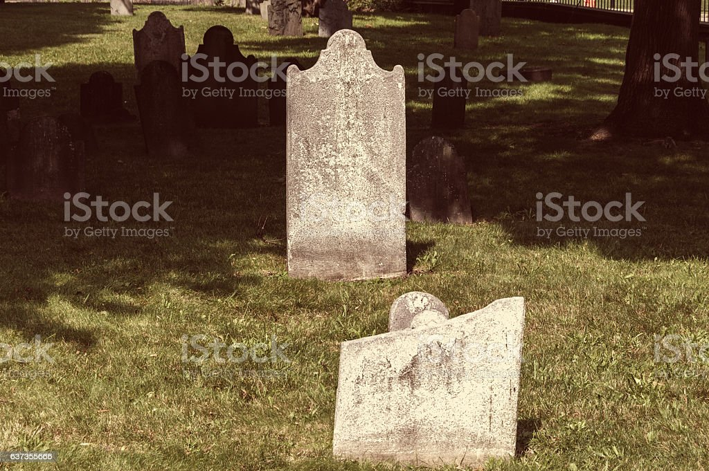 Old jewish cemetery in central park of Boston stock photo