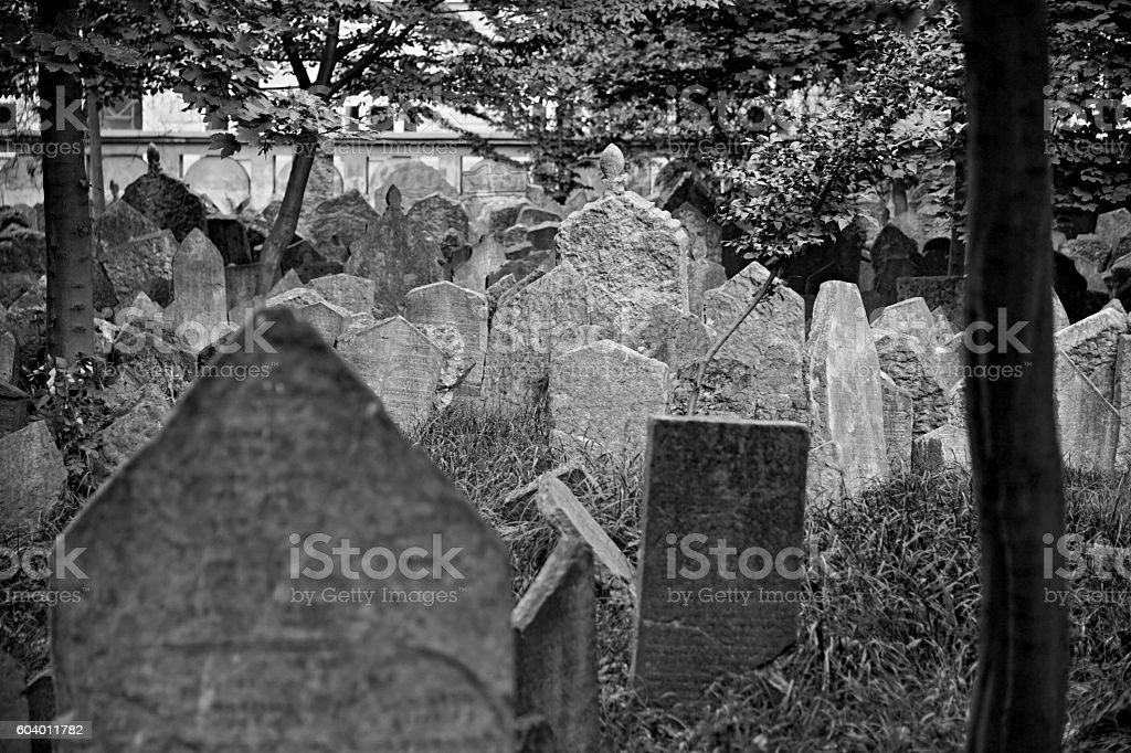 Old Jewish cemetery in Prague, Czech Republic stock photo