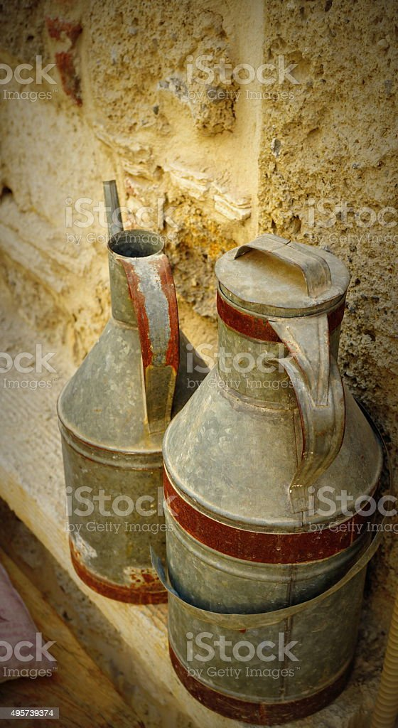 old jug and milk churns. stock photo