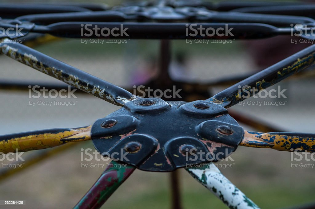Old jungle gym close up stock photo