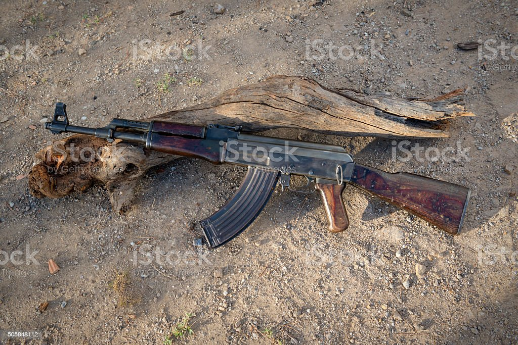 Old Kalashnikov AK-47 from Afghanistan stock photo