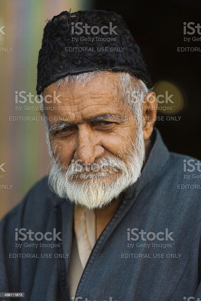 Old Kashmiri Muslim Man Shah E Hamdan Mosque royalty-free stock photo