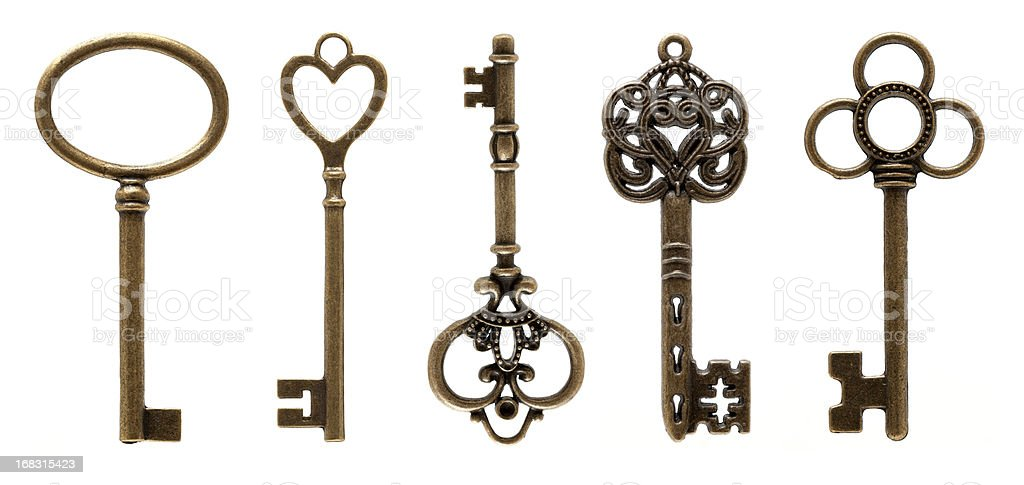Old Keys (clipping path all) isolated on white background stock photo