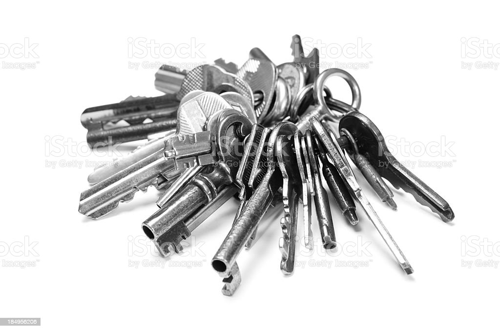 Old keys on key ring stock photo