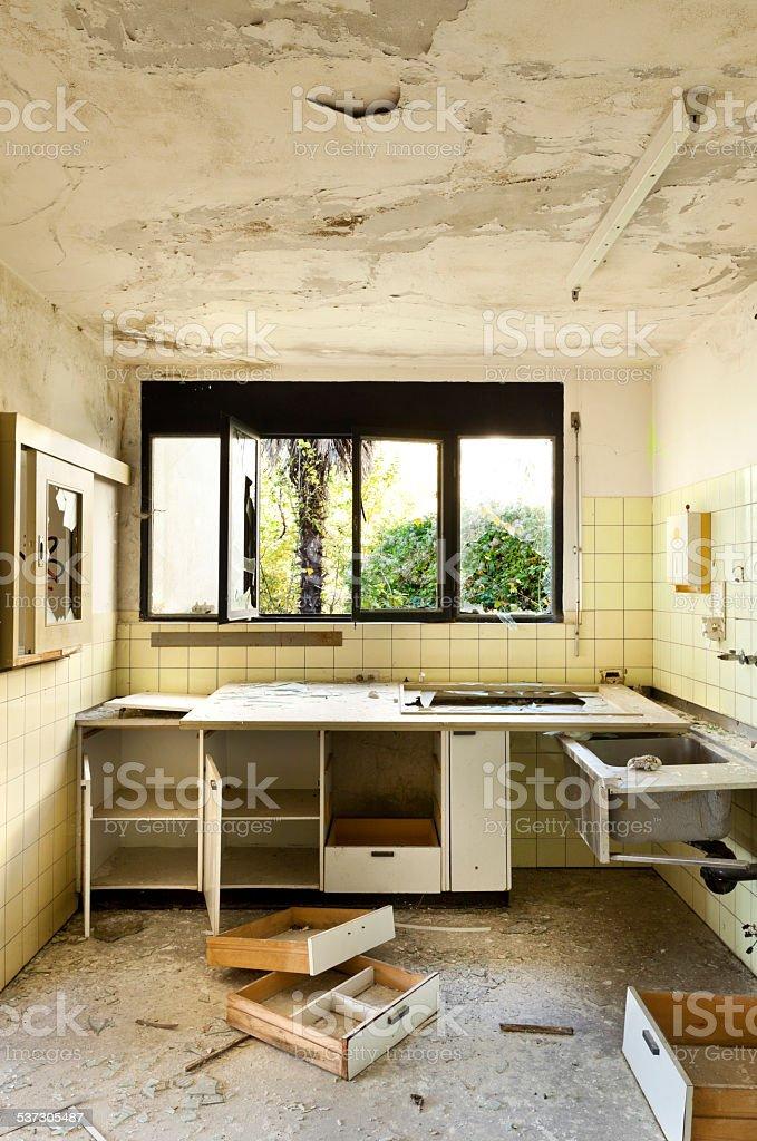 old kitchen broken stock photo