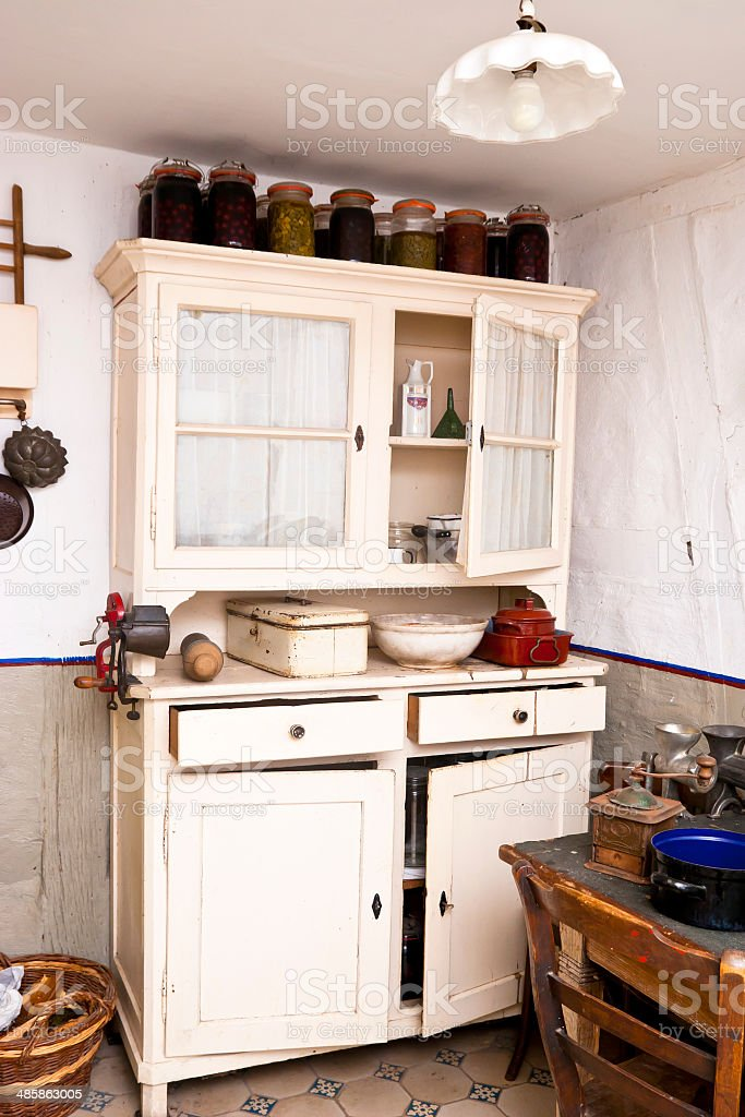 Old Kitchen Cabinet stock photo