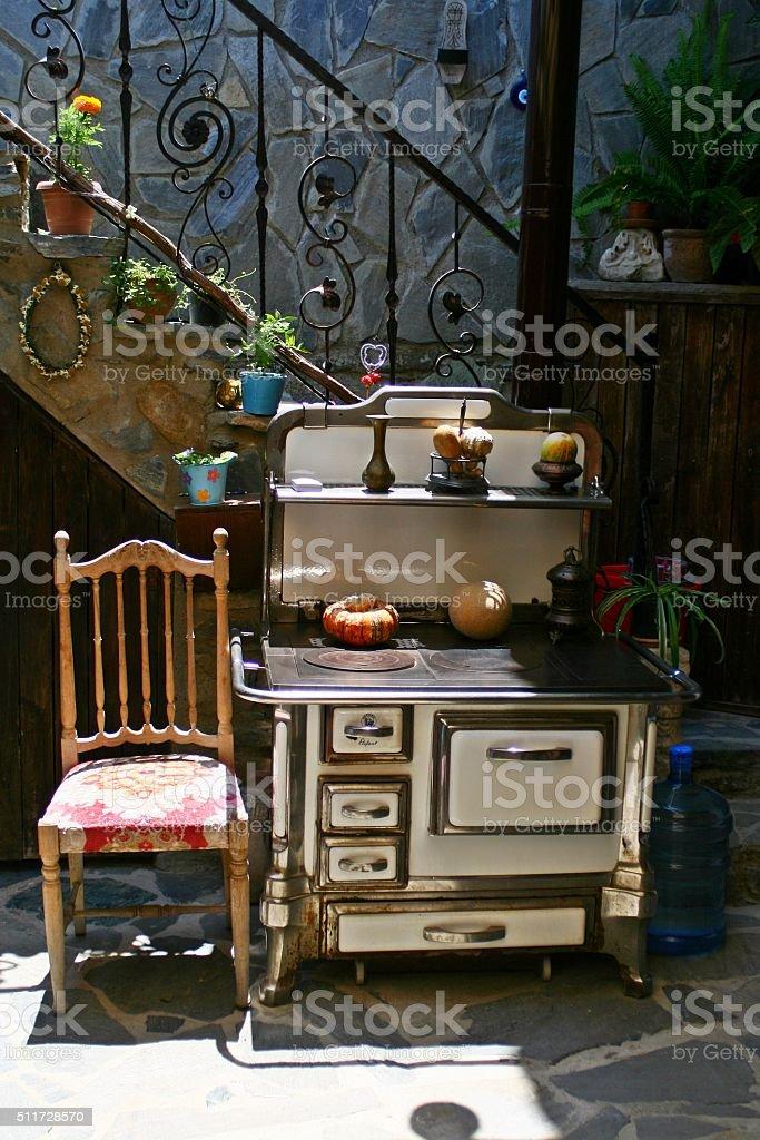 old kitchen oven stock photo