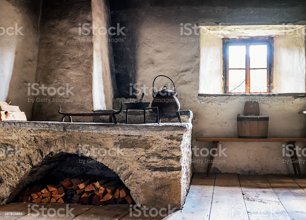 old kitchen stock photo