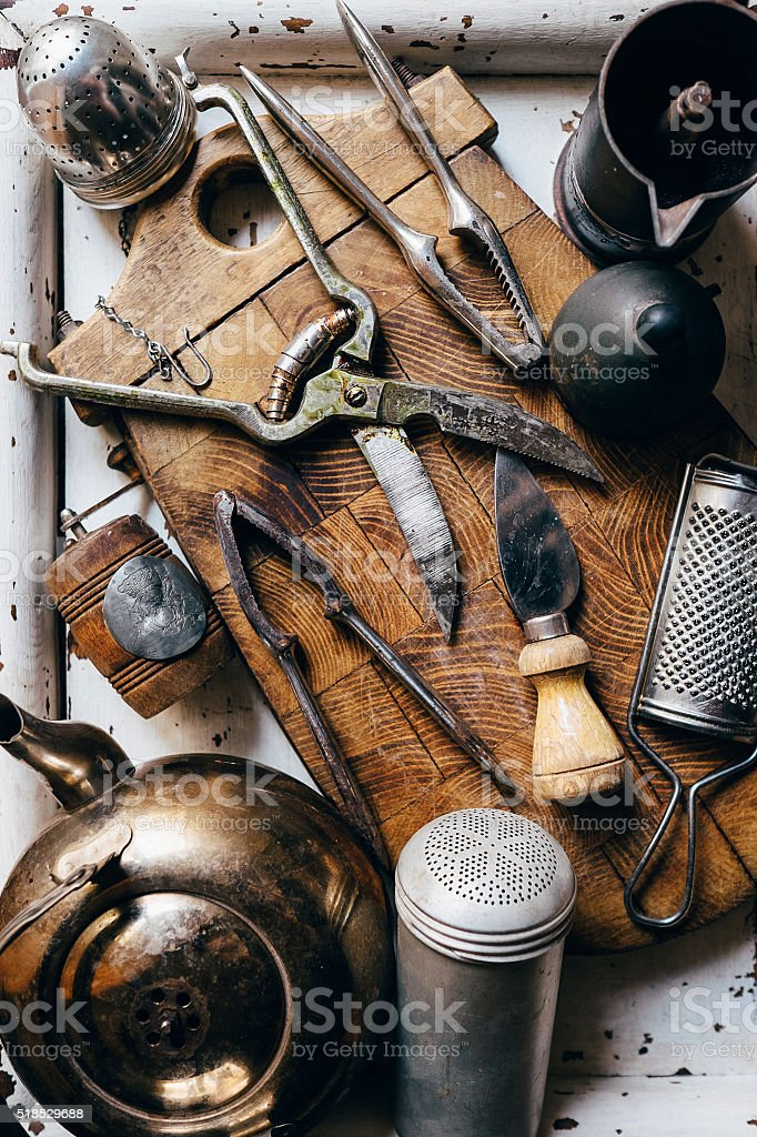 Old kitchen props stock photo