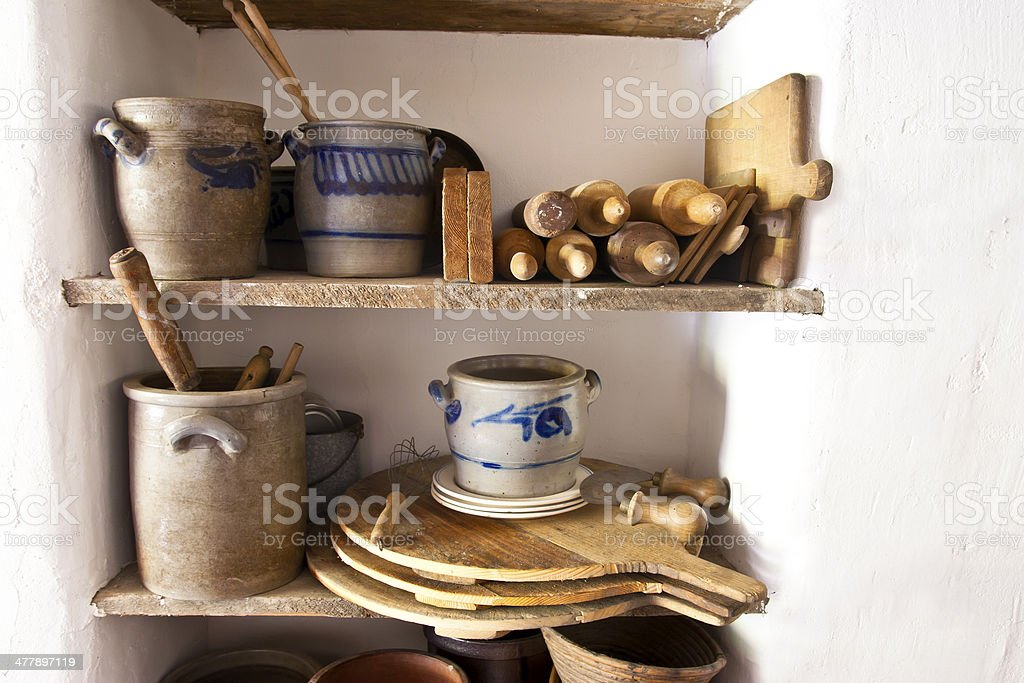 Old kitchen utensils royalty-free stock photo