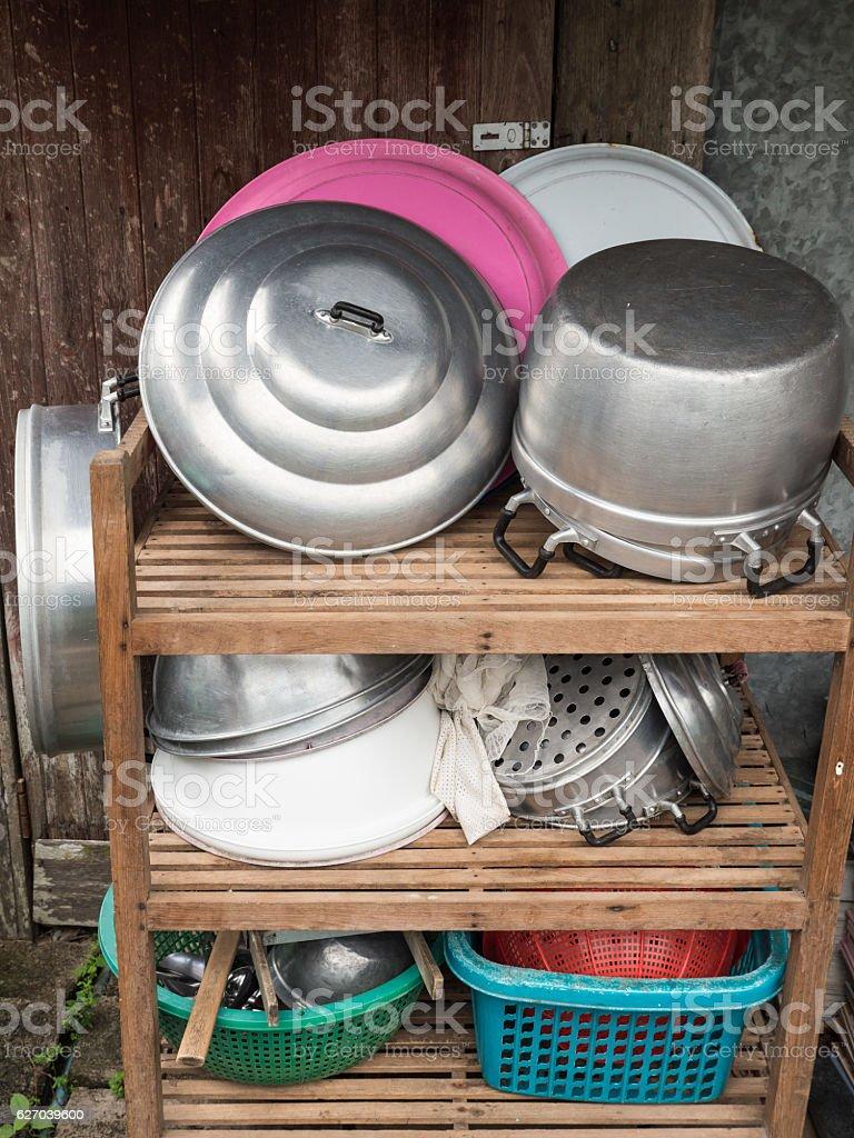 Old kitchenware group. stock photo