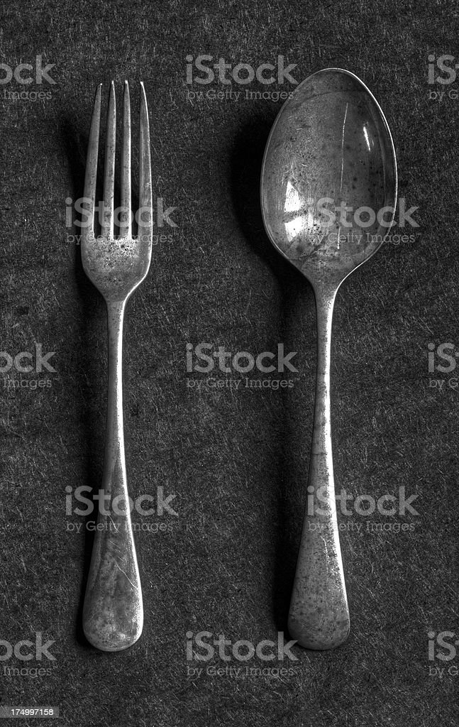 Old knife and spoon royalty-free stock photo