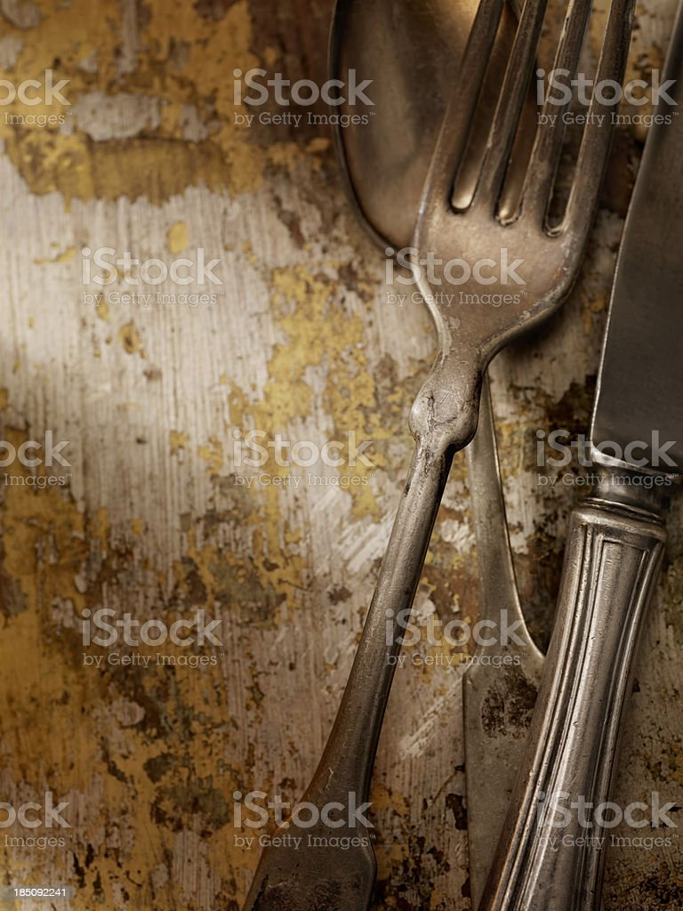 Old Knife, Fork and Spoon royalty-free stock photo