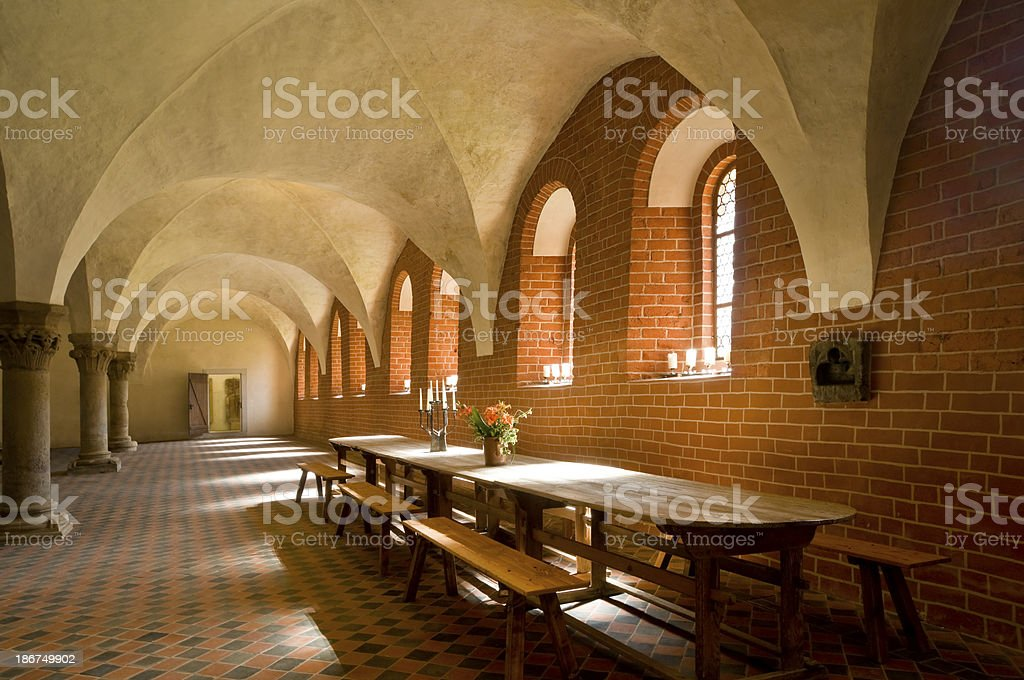 Old knight's hall from the Romanesque period stock photo