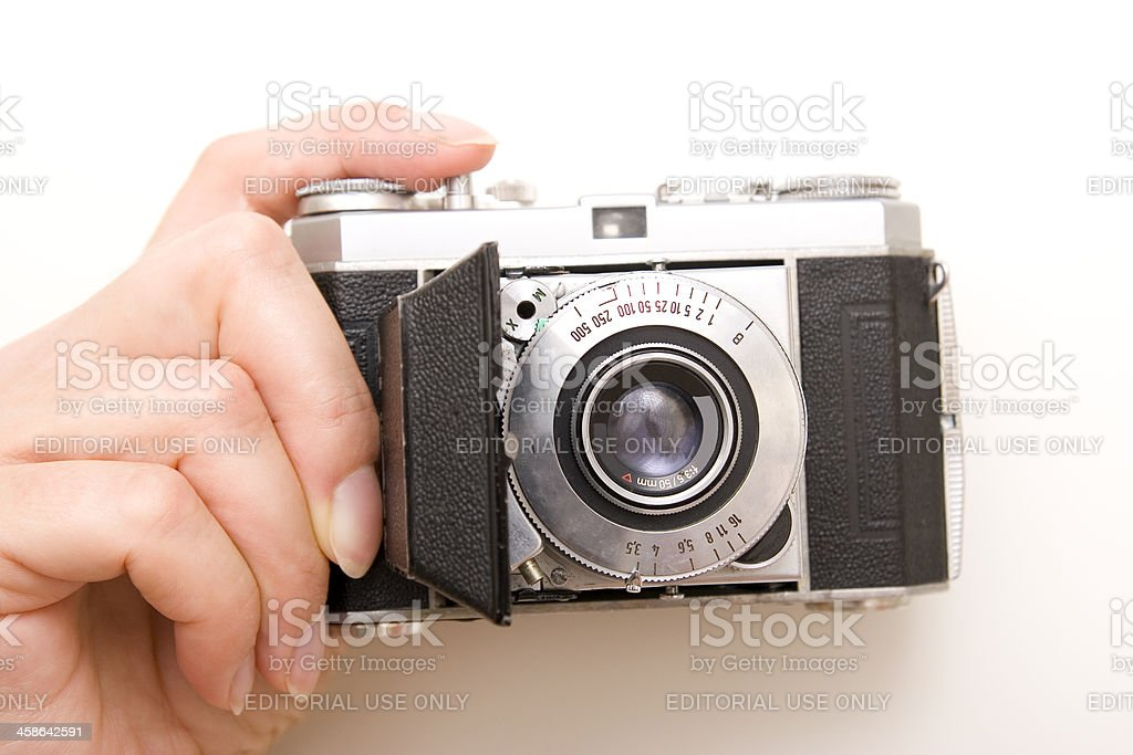 Old Kodak Camera with Femal Hand stock photo
