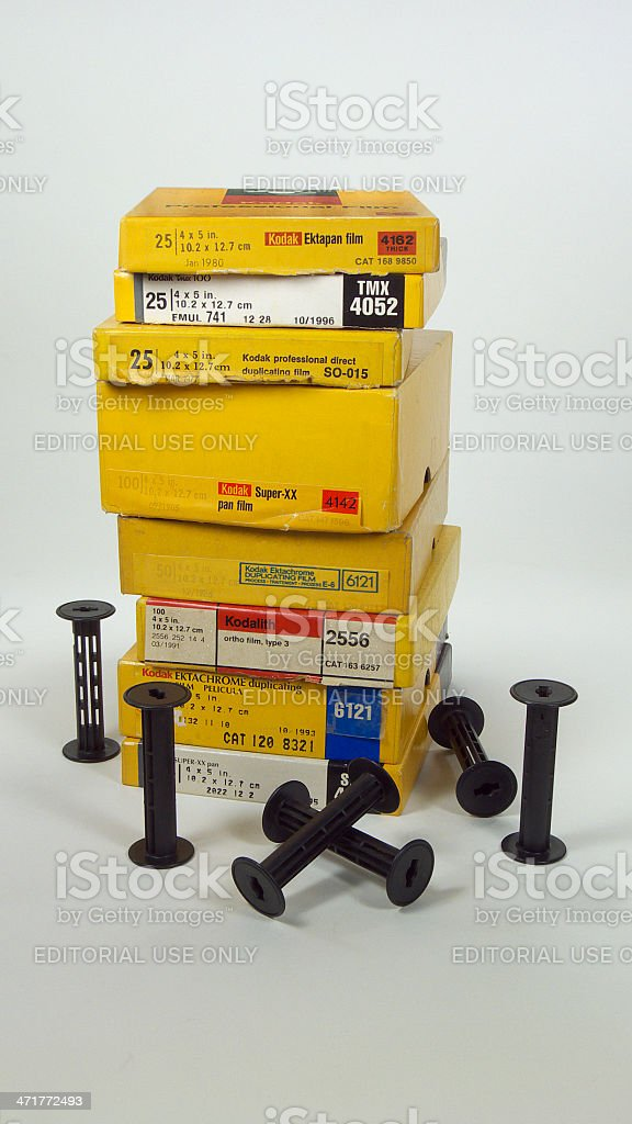 Old Kodak film boxes. royalty-free stock photo