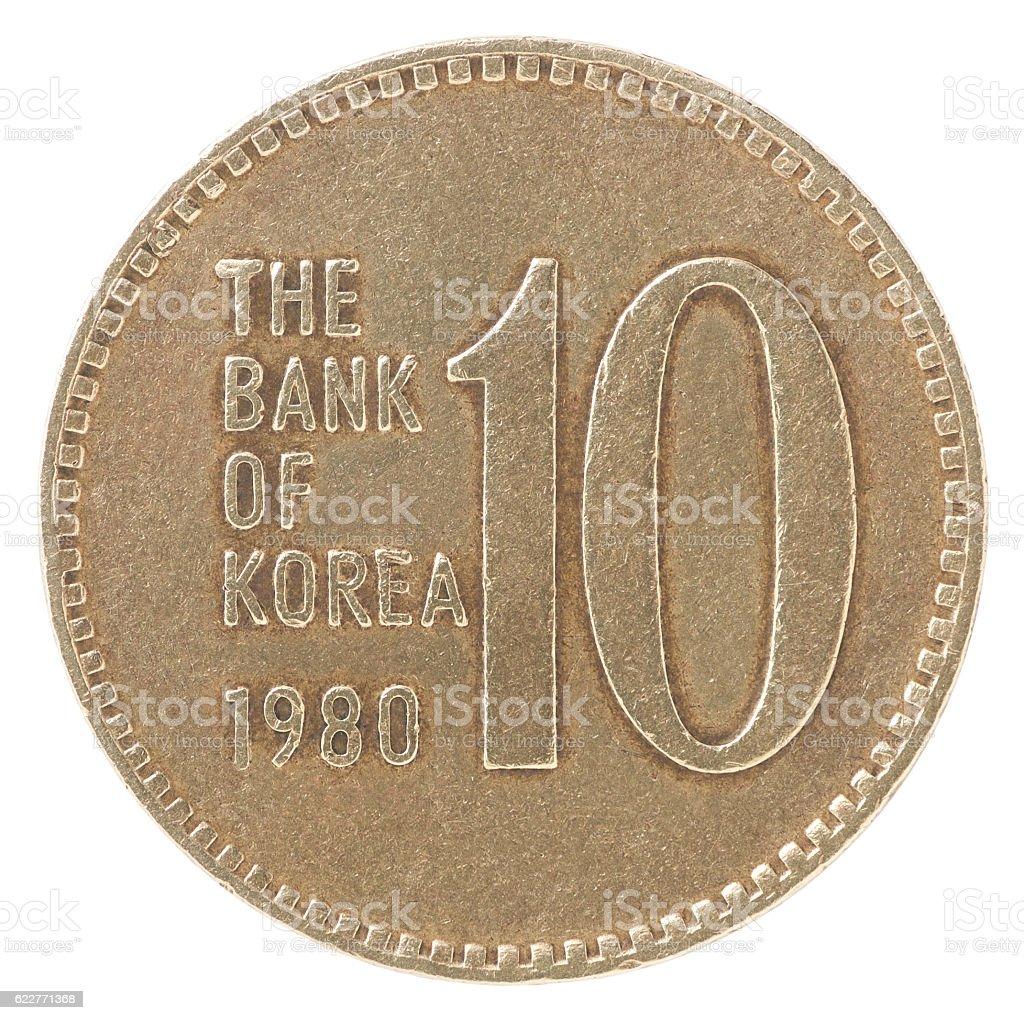 Old Korean won stock photo