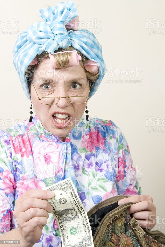 Old Lady Dollar Bill and Purse royalty-free stock photo
