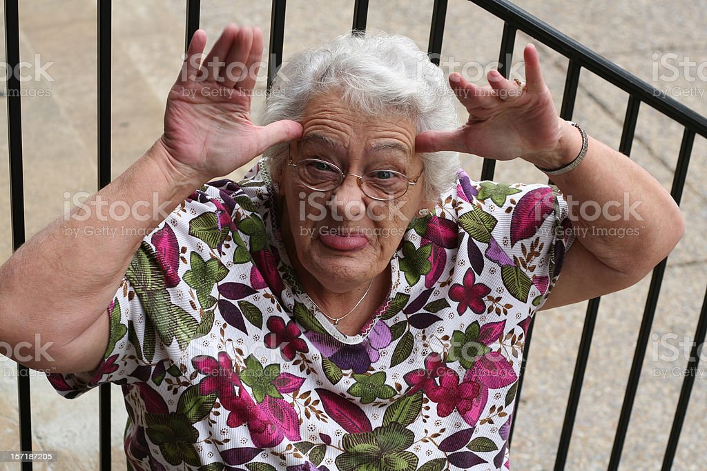 old lady making a face stock photo