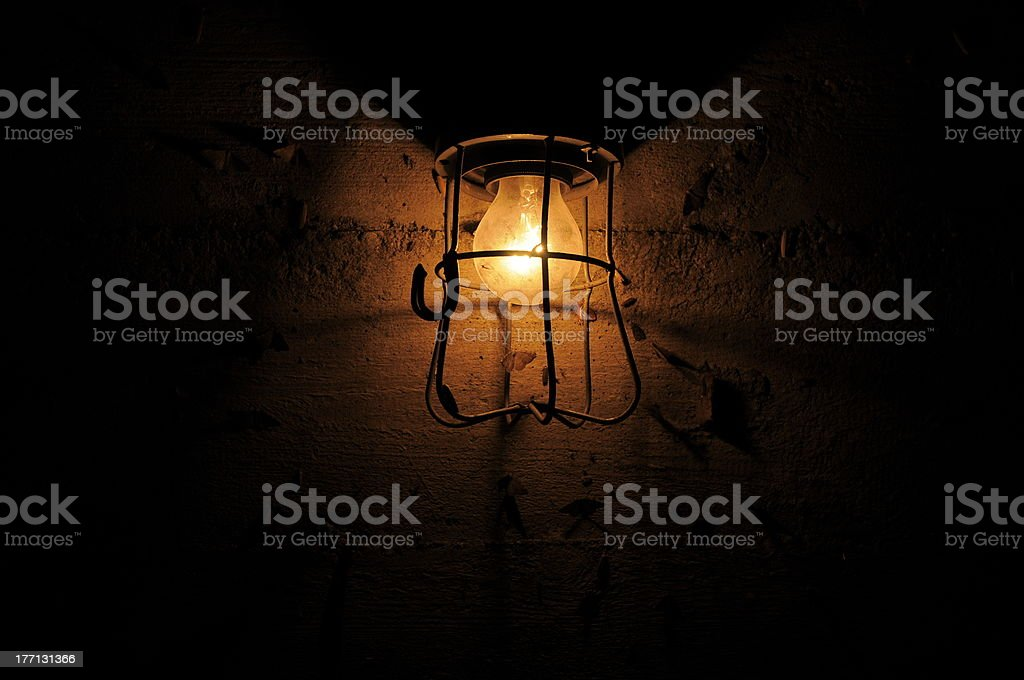 old lamp and moth stock photo