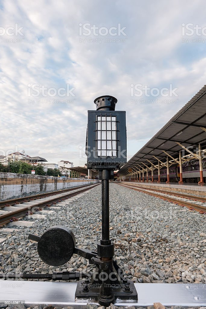 Old lamp pole (signal light) in railway station stock photo