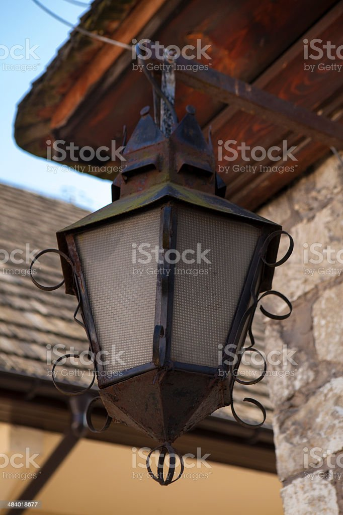 Old lamppost in Kazimierz Dolny, Poland stock photo