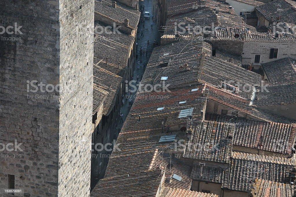 Old Lane in San Gimignano stock photo