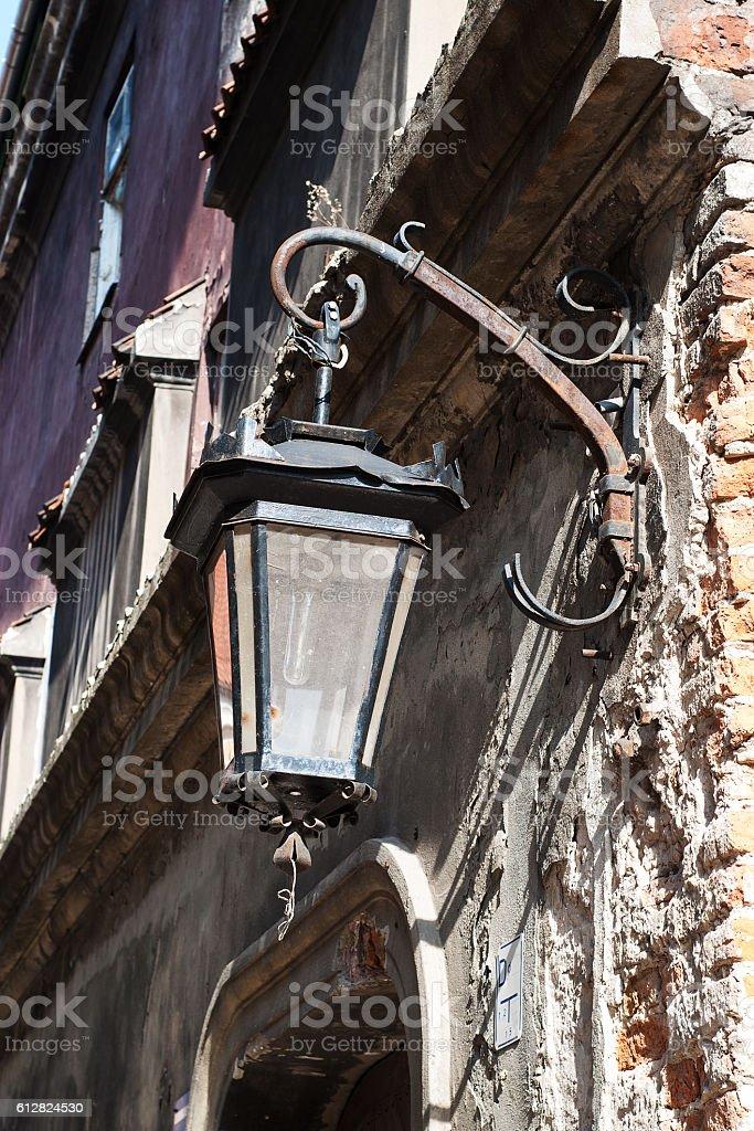 Old lantern on the street stock photo